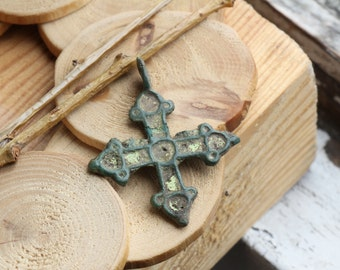 """The pre-Mongol cross 10th - 13th century with chiseled enamel,""""Kiev"""" type of enamel cross,an ancient cross, authentic antique jewelry,cr#6"""