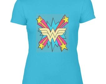Wonder Woman Logo with Stars T-Shirt