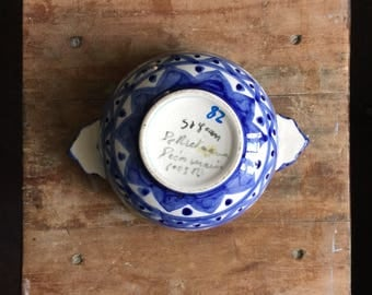 Vintage French blue and white coffee bowl from Saint Jean la Poterie from Brittany France (faience de Bretagne)
