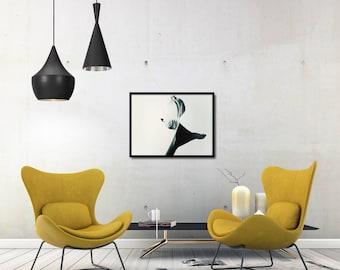 Modern Leaf Poster Gift, Green Scandi Poster, Minimal Green Poster, Modern Leaf Photo Decor, Scandi Living Room Decor, Large Photo Poster
