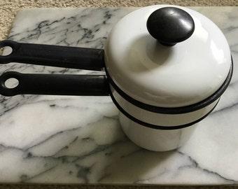 Vintage Small Black &a White  Enamel Double Boiler/ Child's Enamel Double Boiler