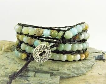 Amazonite Wrap Bracelet, Leather Wrap, Beaded Leather, Beaded Wrap Bracelet, Bohemian Jewelry, Yoga Wrap, Leather Wrap Cuff, Boho Chic Wrap