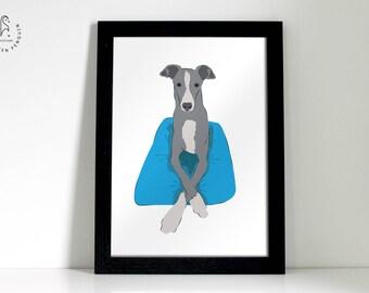 Greyhound Poster Design Wall Print. Sitting Greyhound Illustration.