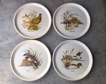 Vintage Water Fowl Duck Pheasant Wigeon Plate Set of Four // Rustic Hunting Lodge Cabin Wild Bird Decor // Sportsman Hunter Outdoors Nature