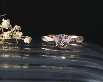 Twist Ring Natural 6mm Round Cut Morganite Engagement Ring Gemstone Ring Bridal Ring Stackable 14K Rose Gold Anniversay Ring Promise Ring