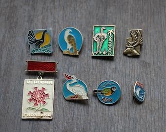 Soviet metal badges, 8 badges on pins, USSR, different badges, set#10
