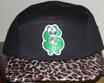 Black 5 Panel Leopard Brim Money Talk Hat