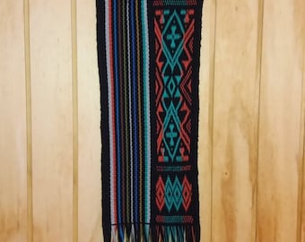 Mural tapestry woven by hand in Vertical Mapuche loom
