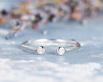 Diamond Open Ring Cuff Ring Bezel Set Minimalist Simple Thin Stacking Wedding Band Women White Gold Anniversary Graduation Gift Promise