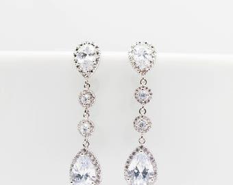 Long earrings silver plated wedding Bridal Bridal Jewelry