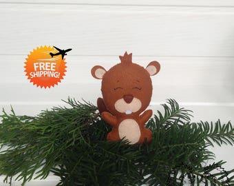 Softie beaver toy, Handmade felt beaver, Brown beaver felt, Beaver plushie, Brown beaver animals, Felted beaver, Felt beaver ornament