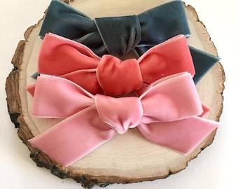 Chunky velvet bow | baby headband | bow | nylon headband | toddler | bow | velvet