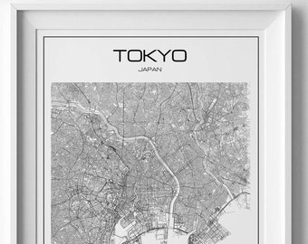 Tokyo print Tokyo map print Tokyo poster Map of Tokyo Japan print Tokyo poster Japan map Tokyo printable Road map Tokyo art City poster