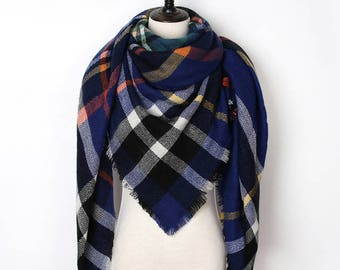 Blue Blanket Scarf, Plaid Blanket Scarf, Plaid Scarf, Tartan Scarf, Gift For Her, Oversized Blanket Scarf,Christmas Gifts