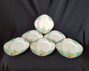 An Exquisite Set of Six Art Deco Burleighware 'Maytime' Entree Plates (22cm)