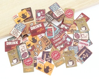 Retro Stamp Flake Stickers - Coffee Posters (45 pcs) Korean Stationery Kawaii Stickers Paper Diary Planner