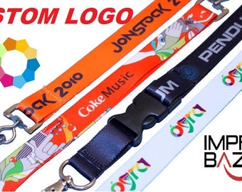 50 Pcs Personalized Lanyard Full Color Printed Lanyards with DYE Sublimation Print - with LOGO/TEXT Custom Lanyards