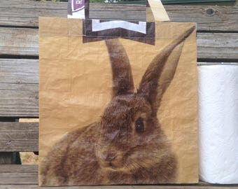 Recycled Feed Bag Tote, reusable tote bag, grocery tote, recycled shopping bag, reusable grocery bag, recycled tote bag, Payback, rabbit
