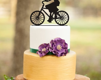 Wedding Cake Topper, Birthday cake topper ,girl Birthday cake Topper. Girl On Bicycle Cake Topper, Cake Topper