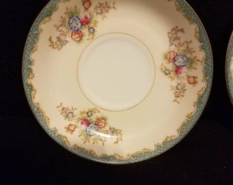 """4 Vintage Hira China of Japan 5.5"""" Saucer Plates Floral Gold Trimmed Collectible Decorative"""