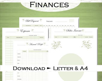 Sales tracker, expenses tracker, bill tracker, annual profit: Business Financial printables Letter size and A4 Digital download.