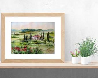 Tuscany original landscape, original watercolor, Italy landscape, Tuscany art, watercolour art, watercolor landscape, watercolor paintings