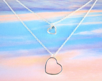 Sterling Silver Two Heart Multi Strand Charm Necklace