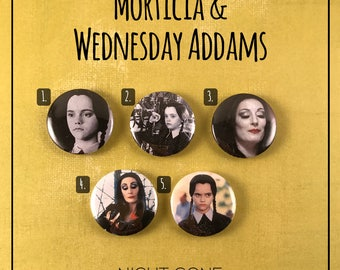 """Morticia & Wednesday Addams Family 1"""" Buttons - Set of 5"""