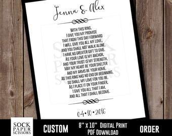 Custom Wedding Sign, Anniversary Sign, Wedding Vow Art Printable Print, Wedding Gift, Anniversary Gift, PDF Digital Download, Sku-CHO110