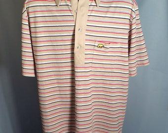 70s Hathaway Knit Classics Casual Polo Shirt Sz Large Beige Tan Red White Black Stripe 1970s Nicklaus Polycotton Soft California Bear Logo