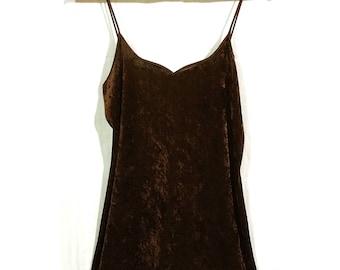 90s Brown Velvet Spaghetti Strap Mini Dress Nightie Night Gown Sz Medium Slinky Sexy Clubwear 1990s Sleepwear Streetwear Skimpy