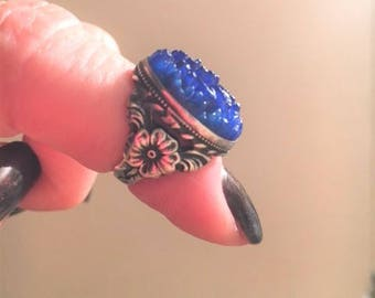 Art Deco Sterling Silver & Carved Art Glass pinky Ring Vintage Antique sz 3