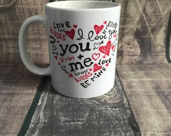 Valentines Day Coffee Cup, I love You Mug, Be Mine, Gift for Her, Gift For Him, Anniversary Gift, Love Coffee Mug, Modern Gift, Graffiti Cup
