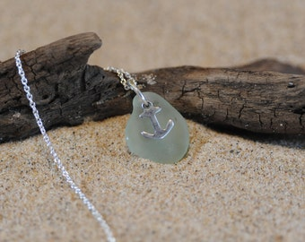 Genuine Seafoam Green Sea Glass Necklace with Anchor Nautical Charm