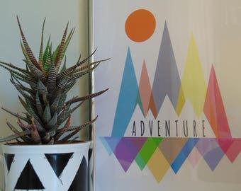 Adventure mountains digital art, INSTANT DOWNLOAD