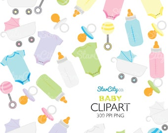 Baby clipart, Baby Shower Clip Art, baby shower Graphics, Bottle clipart, onesie Clip art, Cute Clipart. Commercial Use, instant download