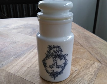 Jar/pharmacy jar spices/apothecary jar glass with Opal blue vintage patterns