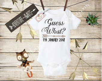 Guess What Onesie, Pregnancy Reveal to Grandparents, Pregnancy Announcement, Announcement Onesie, Reveal To Husband, Baby Reveal