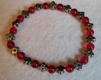 Red and Silver Flower Bead Bracelet