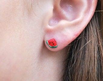 Watermelon Handmade Polymer Clay Earrings - summer, red and green Earrings, Fruit Earrings, Watermelon Earrings, Stainless Steel Studs