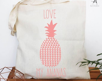 Tote bag love pineapple