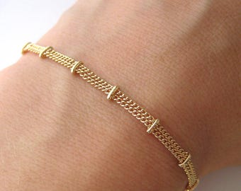 Bracelet double chain gold plated clips 750/000 18 k