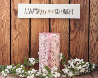 Kiss Me Goodnight,Inspirational Quote,Wood Sign,Framed Quote,Framed Wall Art,Gift For Women,Quote On Wood,Wood Wall Art,Birthday Gift Her