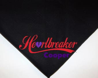 Dog Pet Bandana Valentine's Day Heart breaker personalized with name choose colors Over the collar or tie on xs small medium large xl