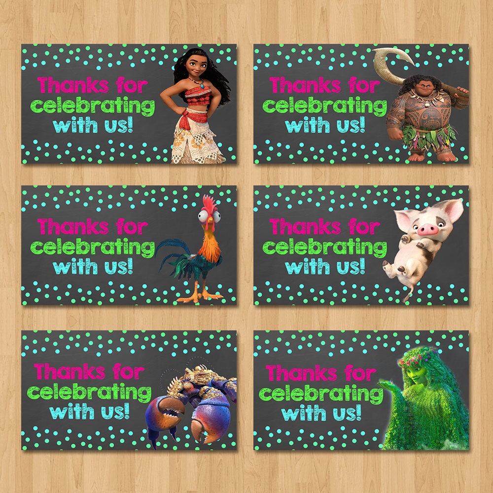 Moana Party Tags - Chalkboard Pink, Green, and Blue - Moana Birthday Party - Girl Moana Party Favors - Moana Party Favor Tags Stickers