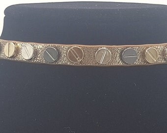 Gold Antiqued Leather Studded Choker