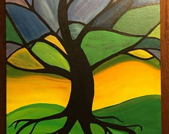 Stained Glass Tree  On Canvas Panel