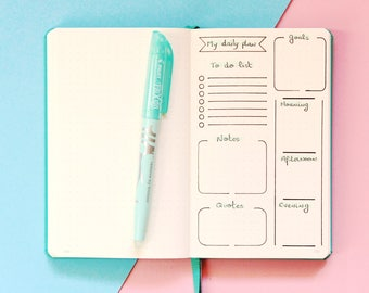 Today stencil, Planner stencil, Daily layout Stencil, Daily template Stencil, Daily Overview Stencil, Bullet journal stencil