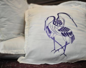 Unique Gifts_Blue Flamingoes Hand Painted Cushion Cover