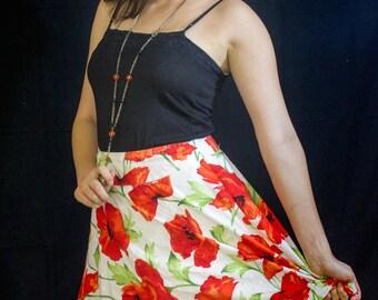 Flare poppy skirt